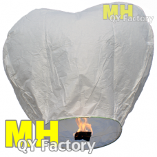 "White ""Original"" Fire Retardant JUMBO Heart Sky lantern"